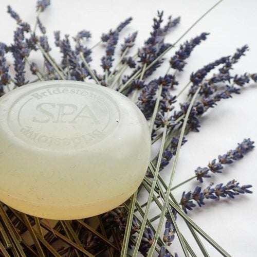 Glycerine soap on a bed of lavender.