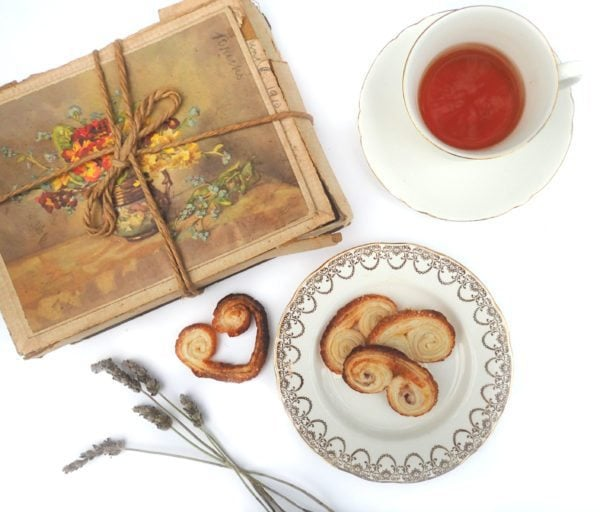 Lavender palmiers with tea and a present