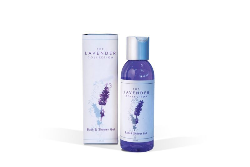 Bottle of bath and shower gel by The Lavender Collection.