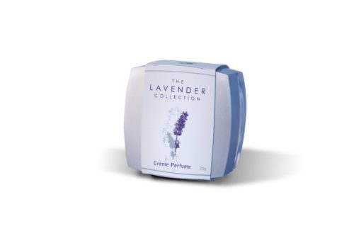 Square jar of lavender scented creme perfume by The Lavender Collection.