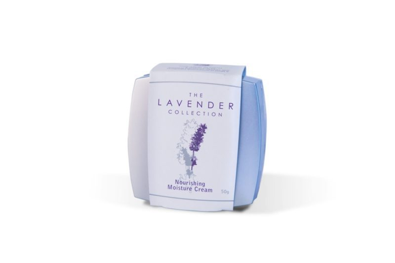 Square jar of nourishing moisture cream by The Lavender Collection.