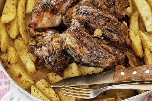 Roast lamb with a herbes de provence crust and roast potatoes.