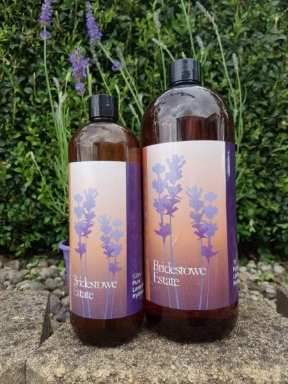 500ml and 1 litre bottles of Bridestowe Lavender Hydrosol.