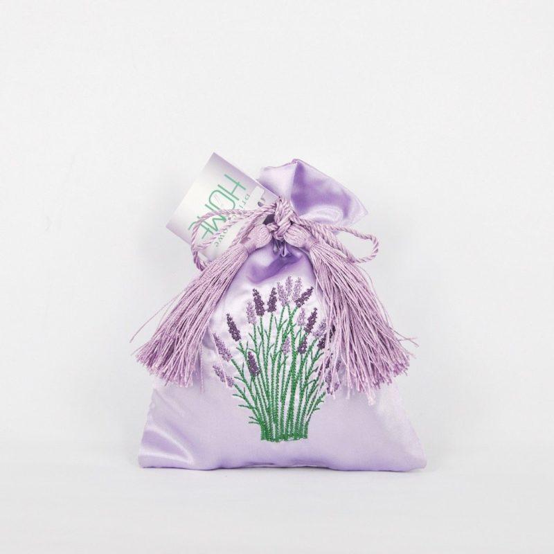 Embroidered Satin Bag of Lavender Flower