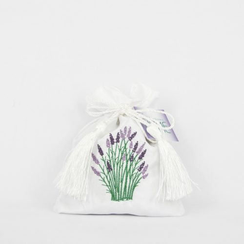 Embroidered white satin bag of lavender flower.