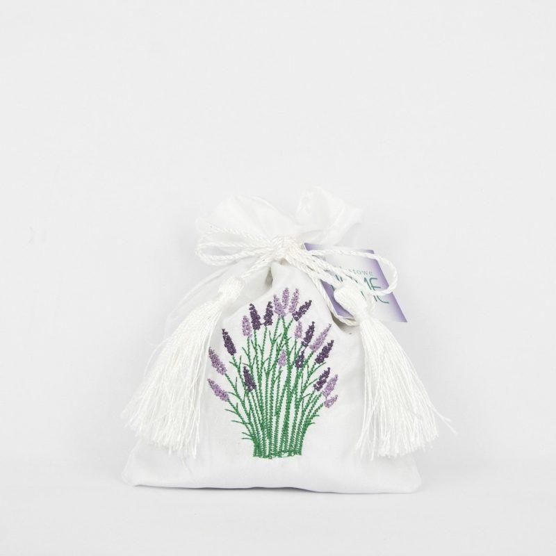 Embroidered white satin bag of lavender flower.